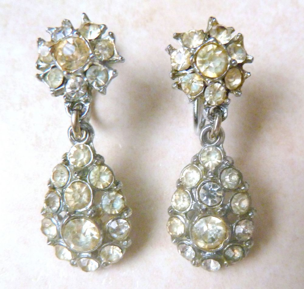 Vintage 50 S Clear Rhinestone Drop Screw Back Earrings